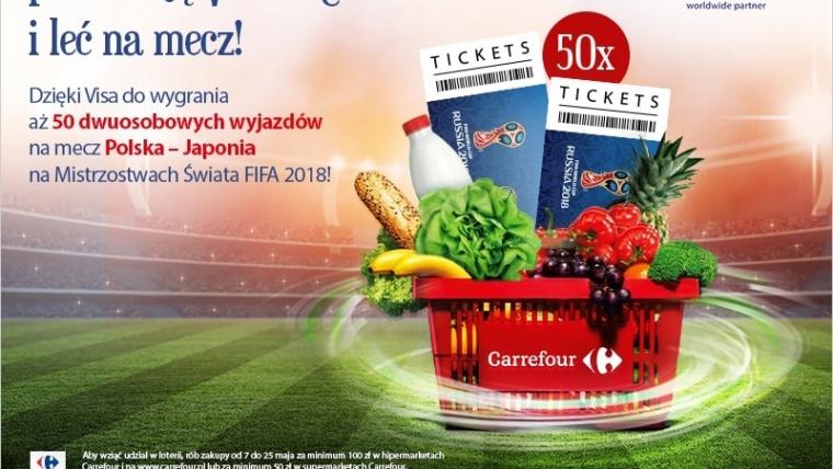"Loteria VISA ""Płać kartą VISA w Carrefour i leć na mecz!"""