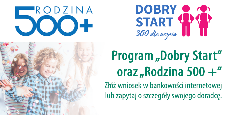 Informacja o możliwości składania wniosków 500+ przez bankowość internetową