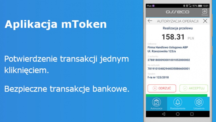 mToken – nowe narzędzie bankowości  internetowej – sprawna autoryzacja operacji w serwisie transakcyjnym